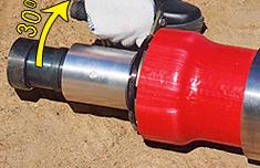 расширить конец трубы еще раз повернув расширительную насадку инструмента относительно трубы после первой развальцовки на 30°.